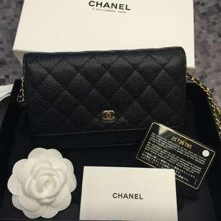 🚚 《預購》Chanel WOC 黑荔枝皮金扣金鍊