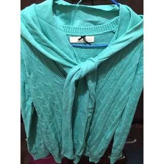 (全新)蒂芬妮綠深V針織衫 湖水綠 Tiffany綠