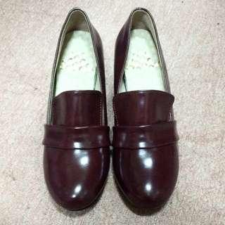 酒紅色 亮皮 高跟鞋 娃娃鞋