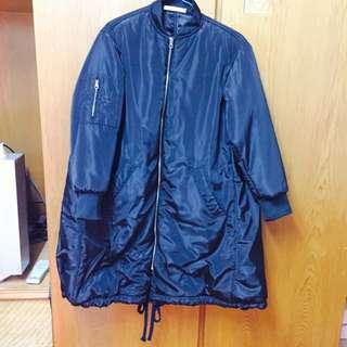 🔥降價🔥韓系長版舖棉外套黑飛行外套 #女裝五折出清