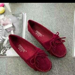 【代售】酒紅色 - 磨砂豆豆鞋