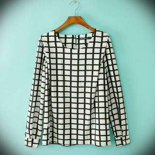 In Stock! PLUS SIZE GRID BLOUSE