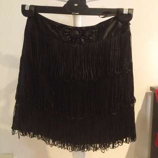 Forever New Black Shag Skirt Size 6