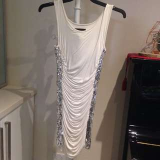 Sequinned Cream Dress Size S