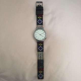 二手 KOMONO Wizard Print 精靈印花系列腕錶-白x美洲部落 /37.5mm