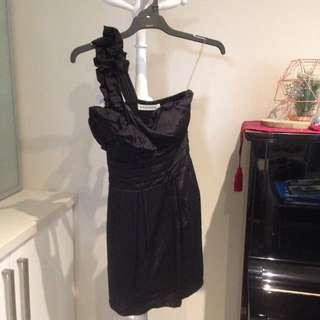 Mossman One Shoulder Black Dress With Rose Detail Size 8