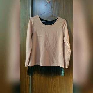 (二手)粉色蕾絲衣/裙