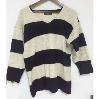 針織長版黑白條紋上衣(含運)