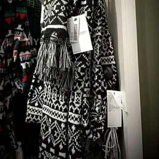 全新 外貿尾單 幾何圖形黑白有型圍巾
