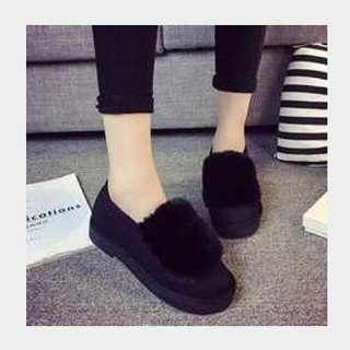 時尚毛毛暖腳厚底鞋