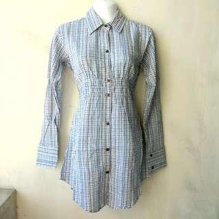 日牌 Swordfish 長版縮腰格紋長版襯衫 天藍