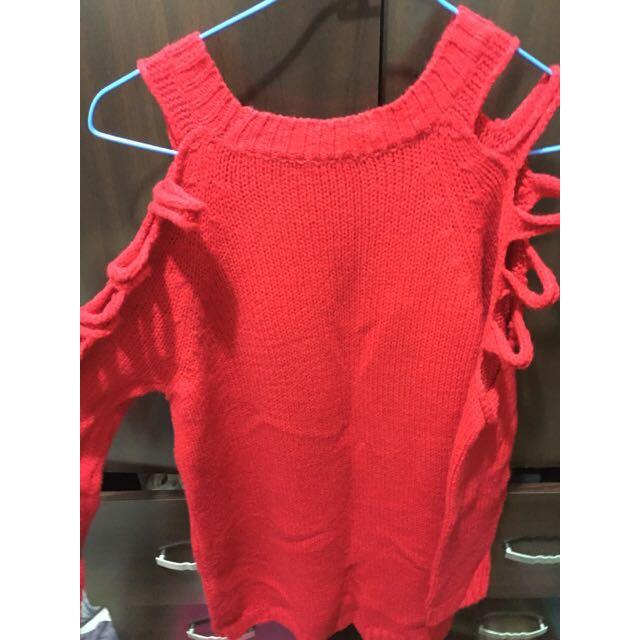 (二手)紅色挖肩針織衫