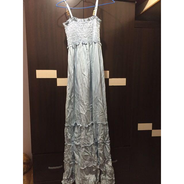 (古著)淺藍超長波希米亞風長裙