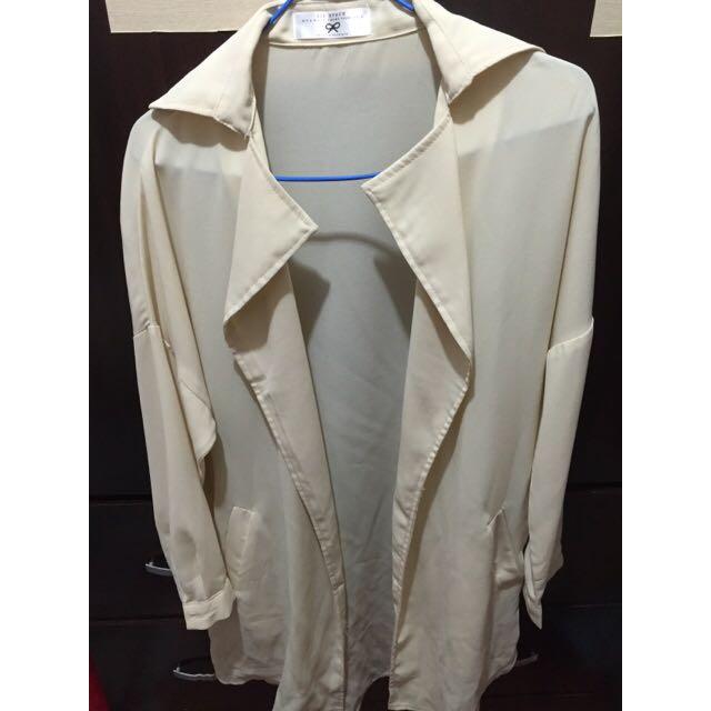 (全新)米色西裝長版外套
