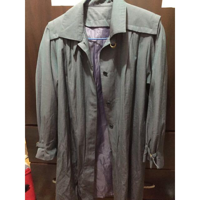 (古著)藍灰色長版風衣