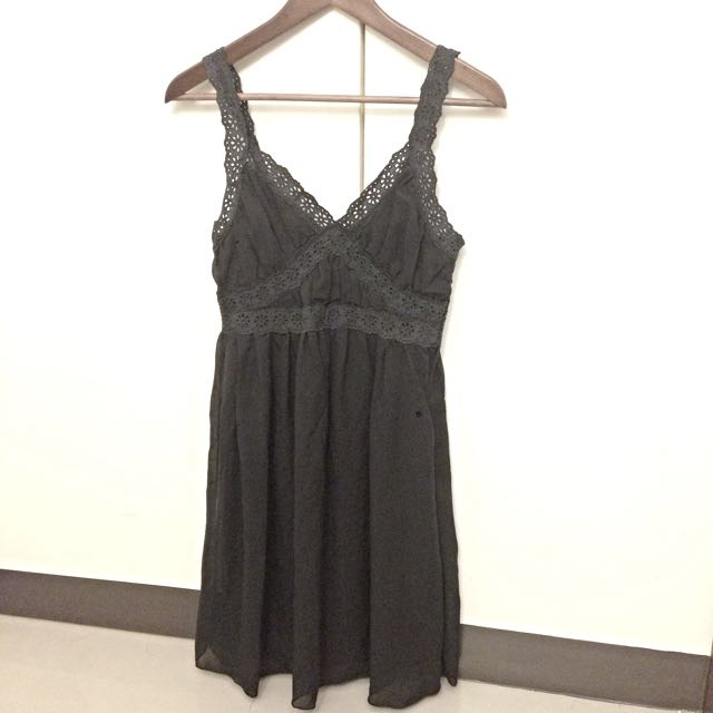 全新正韓黑色布蕾絲邊雪紡紗洋裝小禮服