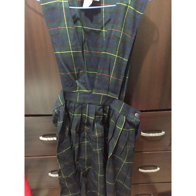 (古著)綠格子學院風吊帶裙