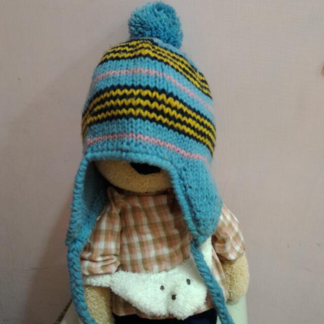 藍色毛帽 飛行帽