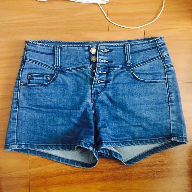 高腰 牛仔褲 短褲 深