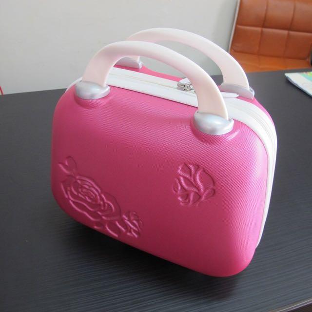 ABS12吋小行李箱 玫瑰手提化妝箱 粉色化妝箱 手提化妝箱 生日禮物 女孩最愛桃紅色化妝箱