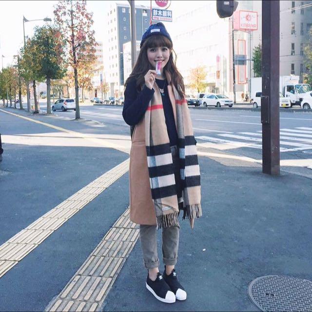 經典大格紋羊絨圍巾 披肩 200x70 超長