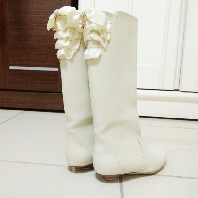 Cherry皮質白長靴 37