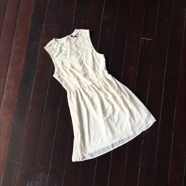 H&M Cream Embroidered Chiffon Dress