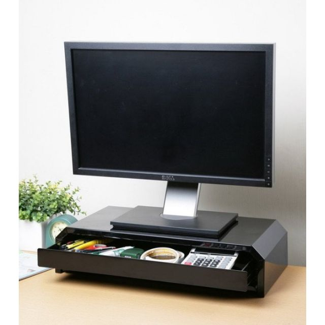一抽一鍵鐵製螢幕架/桌上架-IS5325-K-DR