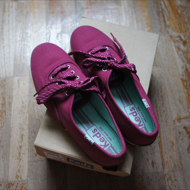 Keds Sneakers (Maroon With Polka Dotted