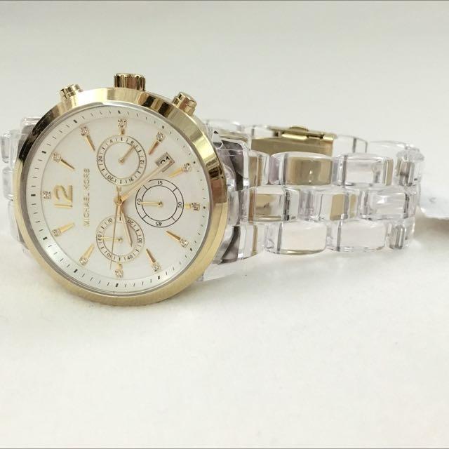 aae5041d3f79 RESERVED Michael Kors Women s Chronograph Audrina Clear Acetate Bracelet  Watch 42m