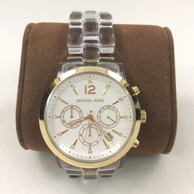 703cf62b3bf3 RESERVED Michael Kors Women s Chronograph Audrina Clear Acetate ...