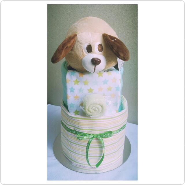 "Pre-assembled* 2-Tier ""Puppy"" Nappy Cake Design"