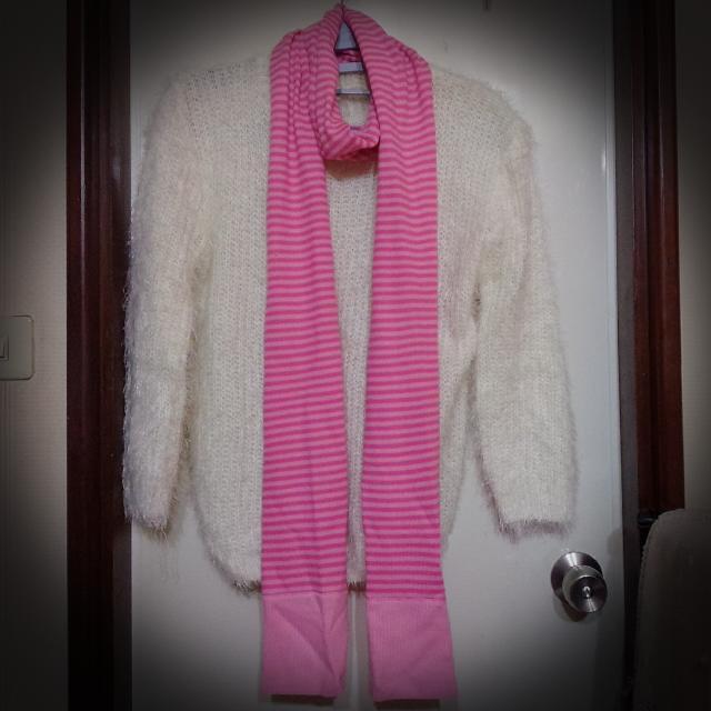 WANNABEE 可愛粉條紋圍巾