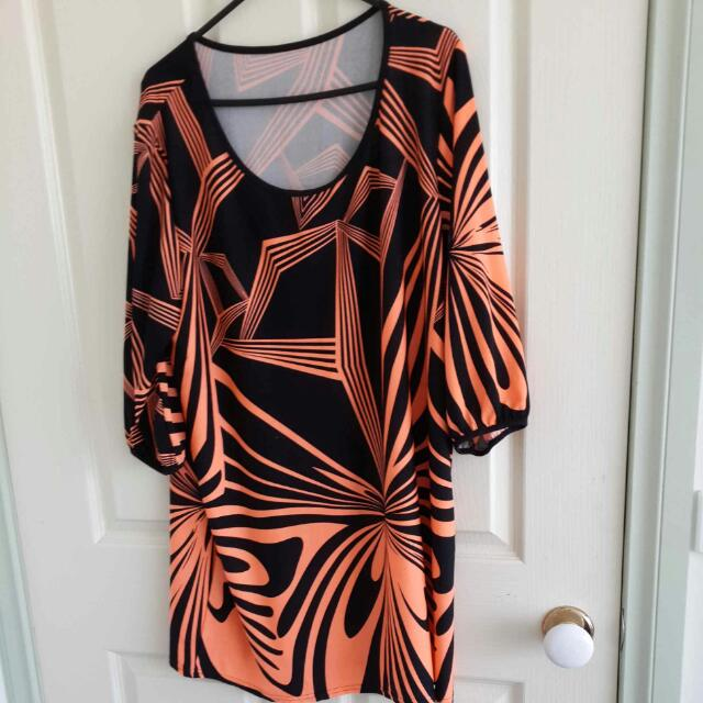 Worn Only Once!! Black And Neon Orange Top.