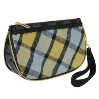 LeSportsac Large Cosmetic Wristlet With Scallop in Sky Blue Plaid