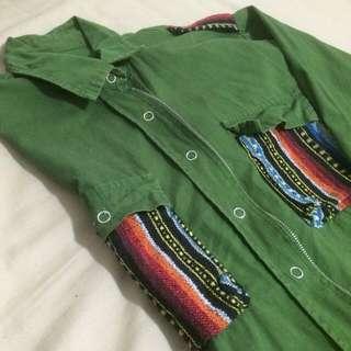 古著襯衫 綠色 拉鍊/鈕扣