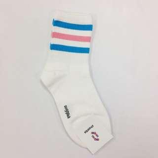 正韓女長襪/白底三條/藍粉藍