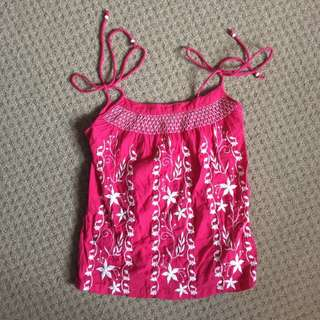 Embroidered Magenta Top