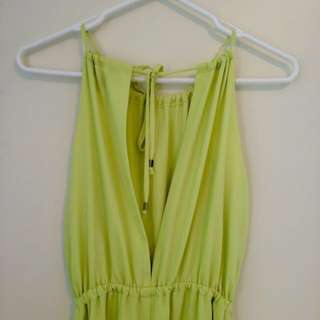 Lime Maxi Formal Dress With Open Back