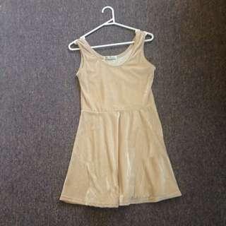 Cute Velvet beige Dress