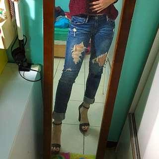 破式牛仔長褲👖合身低腰👍🏻