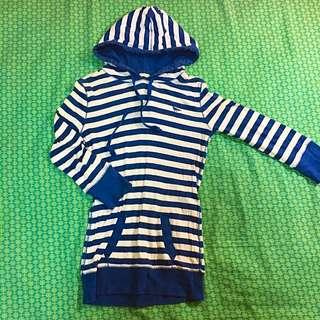 藍白條紋七分袖帽T💙質料舒服有彈性!