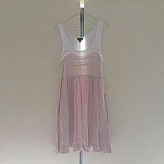 White & Beige Singlet Dress