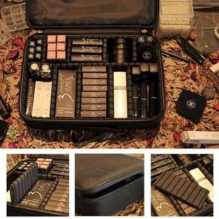 超專業! 收納隔板大款/小款專業化妝箱化妝包黑色大容量化妝師手提包 萬用包 行李箱