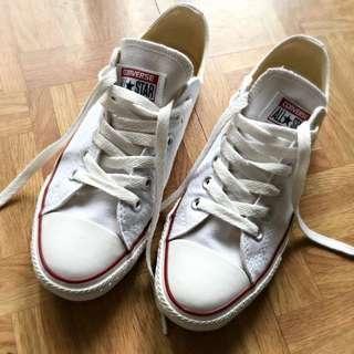 Converse基本款帆布鞋低筒白色-24.5