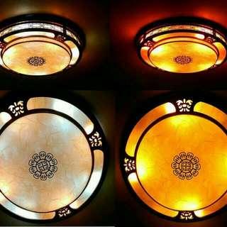 明清實木雕花圓形吸頂燈吊燈