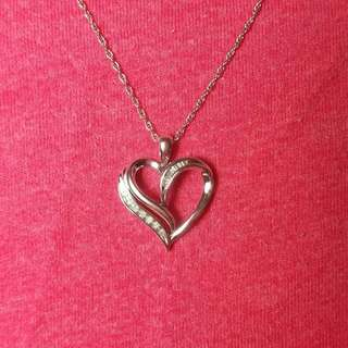 Valentines Day Silver Heart Necklace