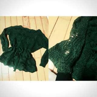 深綠刷破束腰毛衣二手含運