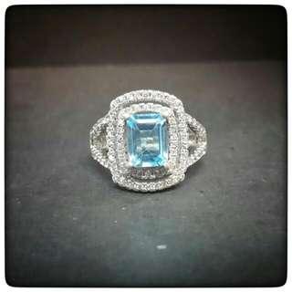 Exquisite! Emerald Cut Swiss Blue Topaz Ring