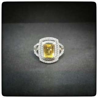 Emerald Cut Yellow Citrine Ring